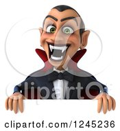Clipart Of A 3d Dracula Vampire Over A Sign Royalty Free Illustration