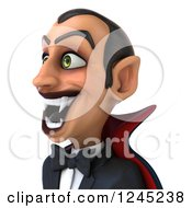 Clipart Of A 3d Dracula Vampire Grinning Facing Left Royalty Free Illustration