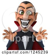 Clipart Of A 3d Dracula Vampire In A Scary Pose Royalty Free Illustration
