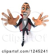 Clipart Of A 3d Dracula Vampire Reaching Out Royalty Free Illustration