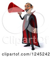Clipart Of A 3d Dracula Vampire Announcing With A Megaphone Royalty Free Illustration