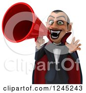 Clipart Of A 3d Dracula Vampire Announcing With A Megaphone 2 Royalty Free Illustration