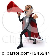 Clipart Of A 3d Dracula Vampire Announcing With A Megaphone 3 Royalty Free Illustration