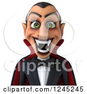 Clipart Of A 3d Dracula Vampire Grinning Royalty Free Illustration