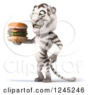 Clipart Of A 3d White Tiger Holding A Double Cheeseburger Royalty Free Illustration