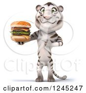 Clipart Of A 3d White Tiger Holding And Pointing To A Double Cheeseburger Royalty Free Illustration