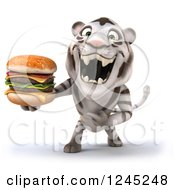 Clipart Of A 3d White Tiger Roaring And Holding A Double Cheeseburger Royalty Free Illustration