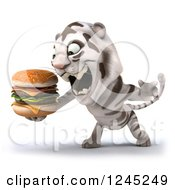 Clipart Of A 3d White Tiger Roaring And Holding A Double Cheeseburger 2 Royalty Free Illustration