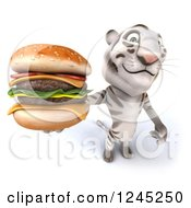 Clipart Of A 3d White Tiger Holding Up A Double Cheeseburger Royalty Free Illustration