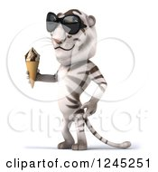 Clipart Of A 3d White Tiger With Shades Holding An Ice Cream Cone Royalty Free Illustration