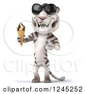 Clipart Of A 3d White Tiger With Shades Holding An Ice Cream Cone 2 Royalty Free Illustration