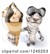 Clipart Of A 3d White Tiger With Shades Holding Up An Ice Cream Cone Royalty Free Illustration