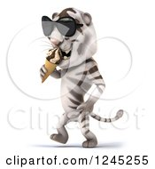 Clipart Of A 3d White Tiger With Shades Walking And Eating An Ice Cream Cone 2 Royalty Free Illustration