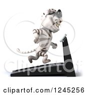 Clipart Of A 3d White Tiger Wearing Sunglasses And Running On A Treadmill Royalty Free Illustration