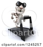 Clipart Of A 3d White Tiger Wearing Sunglasses And Running On A Treadmill 2 Royalty Free Illustration