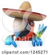 Clipart Of A 3d Mexican Macaw Parrot Pointing Down Over A Sign Royalty Free Illustration