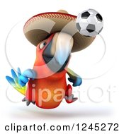 Clipart Of A 3d Mexican Macaw Parrot Playing Soccer Royalty Free Illustration