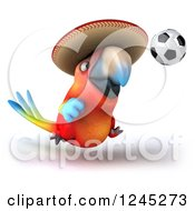 Clipart Of A 3d Mexican Macaw Parrot Playing Soccer 2 Royalty Free Illustration
