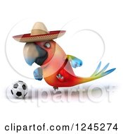 Clipart Of A 3d Mexican Macaw Parrot Playing Soccer 3 Royalty Free Illustration
