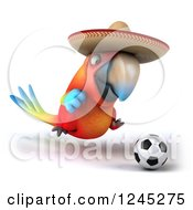 Clipart Of A 3d Mexican Macaw Parrot Playing Soccer 4 Royalty Free Illustration