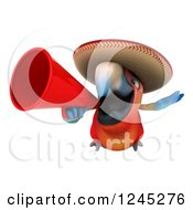 Clipart Of A 3d Mexican Macaw Parrot Flying With A Megaphone 2 Royalty Free Illustration