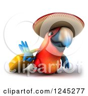 Clipart Of A 3d Mexican Macaw Parrot Pulling A Suitcase 2 Royalty Free Illustration