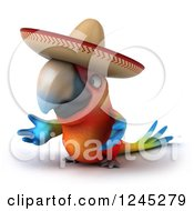 Clipart Of A 3d Mexican Macaw Parrot Presenting Royalty Free Illustration