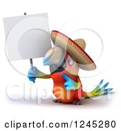 Clipart Of A 3d Mexican Macaw Parrot Holding And Pointing To A Blank Sign Royalty Free Illustration