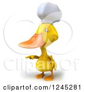 Clipart Of A 3d Chef Duck Pointing Royalty Free Illustration