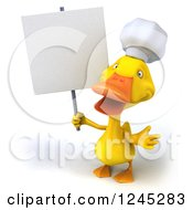 Clipart Of A 3d Chef Duck Shrugging With A Blank Sign Royalty Free Illustration
