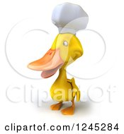 Clipart Of A 3d Chef Duck Facing Left Royalty Free Illustration