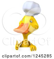 3d Chef Duck Giving A Thumb Up Over A Sign