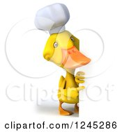 Clipart Of A 3d Chef Duck Pointing Around A Sign Royalty Free Illustration