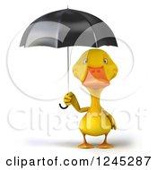 3d Yellow Duck Under An Umbrella