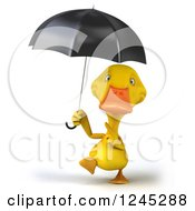 3d Yellow Duck Walking And Pointing Up At An Umbrella