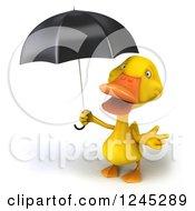 3d Yellow Duck Shrugging Under An Umbrella