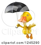 Clipart Of A 3d Yellow Duck Flying With An Umbrella 3 Royalty Free Illustration