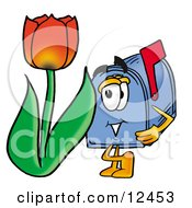 Blue Postal Mailbox Cartoon Character With A Red Tulip Flower In The Spring