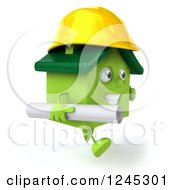 Clipart Of A 3d Green House Contractor Running With Blueprints 2 Royalty Free Illustration