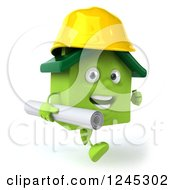Clipart Of A 3d Green House Contractor Running With Blueprints 3 Royalty Free Illustration