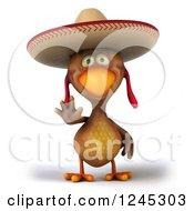 3d Waving Mexican Chicken In A Sombrero Hat