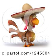3d Mexican Chicken In A Sombrero Hat Facing Right