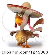 3d Walking Mexican Chicken In A Sombrero Hat 2