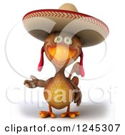 3d Presenting Mexican Chicken In A Sombrero Hat