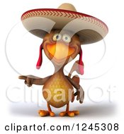 3d Pointing Mexican Chicken In A Sombrero Hat