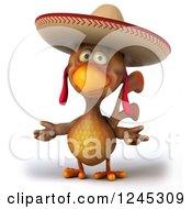 3d Shrugging Mexican Chicken In A Sombrero Hat