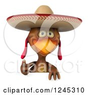 3d Mexican Chicken In A Sombrero Hat Giving A Thumb Up Over A Sign