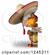 3d Mexican Chicken In A Sombrero Hat Pointing Around A Sign
