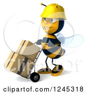 Clipart Of A 3d Contractor Worker Bee Pushing Boxes On A Dolly Royalty Free Illustration