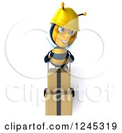 Clipart Of A 3d Contractor Worker Bee Pushing Boxes On A Dolly 2 Royalty Free Illustration